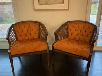 Antique Vintage Mid Century Came Barrel Chairs for Sale in Los Angeles,  CA