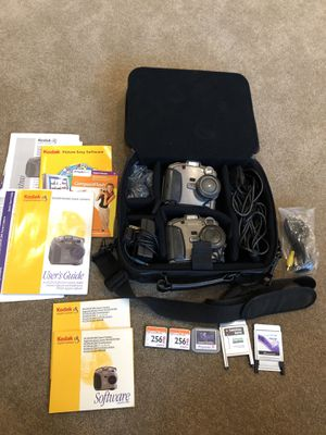 Lot Of 2 Kodak DC260 Zoom Cameras w/ Case & 3 Compact Flash Cards (2-256, 15 MB) for Sale in Lexington, KY