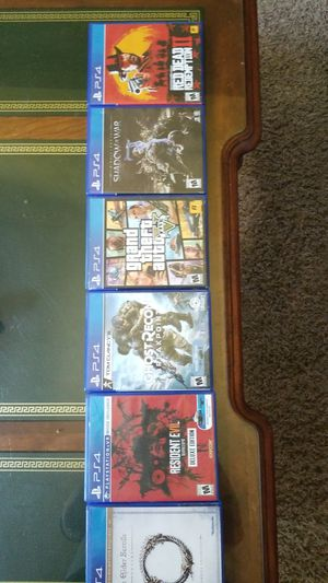 Ps4 games ESO, RE7, GRB, GTA5, SHADOW OF WAR, RDR2 for Sale in Spring Lake, MI