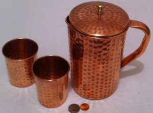 Vintage Metal Copper and Brass Serving Pitcher with Lid and 2 Cups, Glasses, Hammered Metal, Kitchen Décor, Table Décor, Shelf Display for Sale in Lakeside, CA