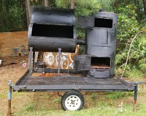 SMOKER & GRILL COMBO WELDED ONTO TRAILER HITCH STANDS & WHEELS for Sale in Austell, GA