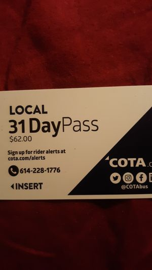 31 Day Cota Pass 35$ : Good untill 12/04/2019 for Sale in Columbus, OH