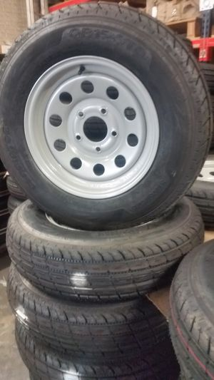 """Premium trailer tires 225/75 D 15"""" mounted on silver mod wheels for Sale in Dallas, TX"""