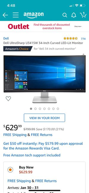 Dell UltraSharp 34 inch Curved LED Monitor for Sale in San Antonio, TX