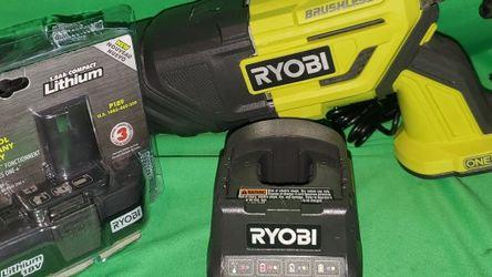 RYOBI 18V CORDLESS BRUSHLESS RECIPROCATING SAW BATTERY & CHARGER SET for Sale in Beaumont,  CA