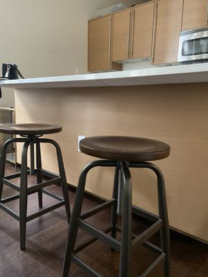 3 wooden counter stools with iron base for Sale in Washington, DC