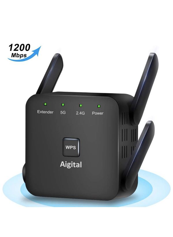 Aigital WiFi Range Extender 5GHz & 2.4GHz 1200Mbps WiFi Repeater Wireless Signal Booster 360 Degree Full Coverage WiFi Signal Booster Amplifier & WPS