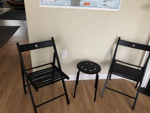 Ike black wooden chairs and stool for Sale in Arlington, VA