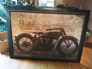 Pan head motorcycle with route 66 in back round for Sale in Turlock, CA