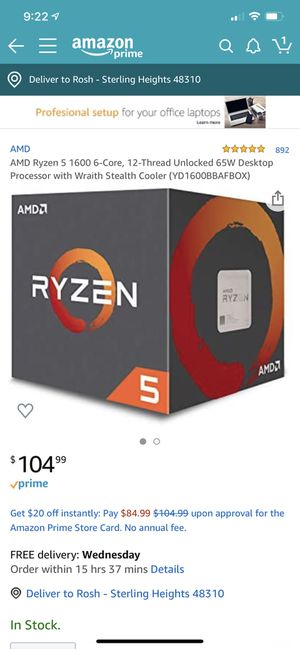 Ryzen 5 1600 & Asrock A320M-HDV Bundle for Sale in Sterling Heights, MI