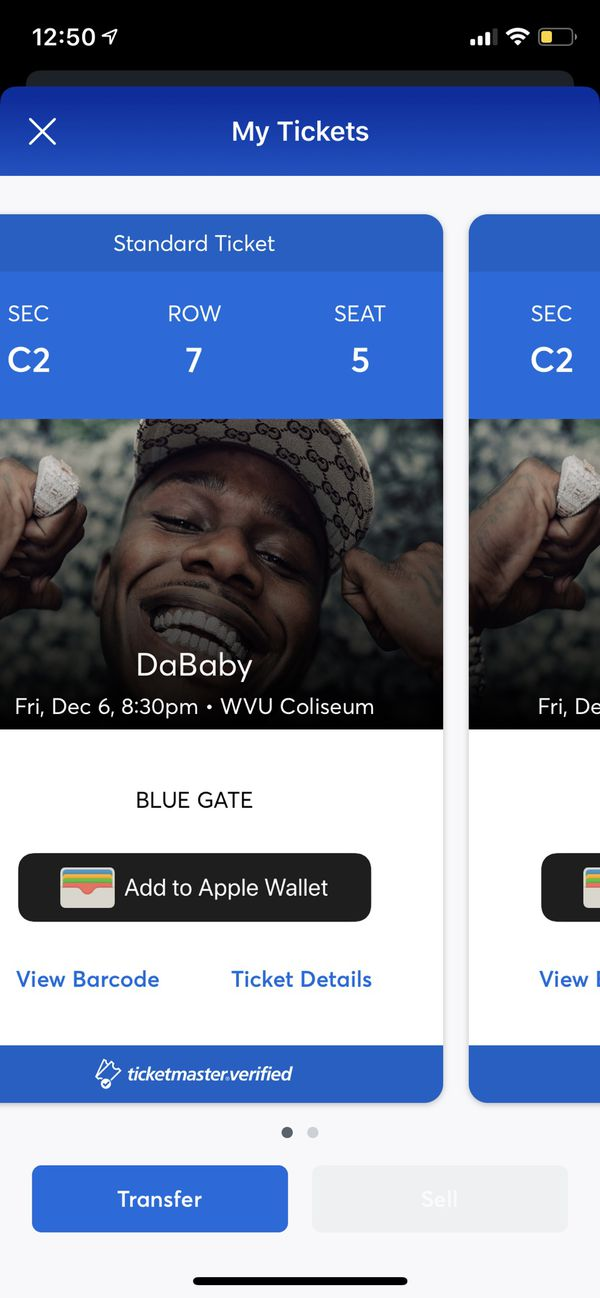 Concert tickets for DaBaby 12/6 at 8:30.