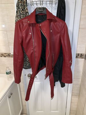 MEN'S RED ZARA LEATHER JACKET(MEDIUM) for Sale for sale  Bronx, NY