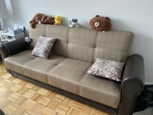 Nice sofa with leather handle, pick up required for Sale in Brooklyn, NY