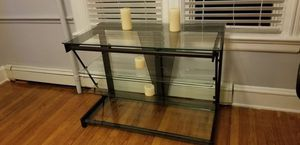 Black, Glass entertainment center, tv stand like new for Sale in Westfield, NJ