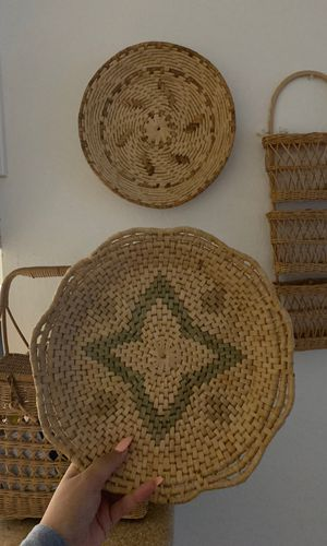 2 round wall basket decor mid century vintage boho home decor wicker for Sale in Fullerton, CA