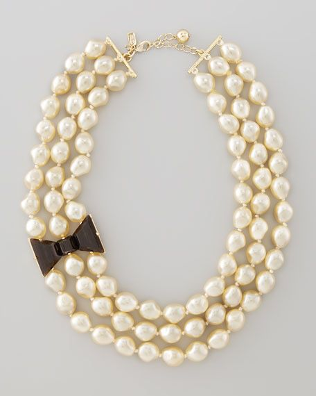 Kate spade bow triple strand pearl necklace