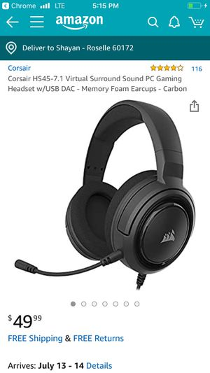 Corsair HS45 Gaming Headset for Sale in Roselle, IL