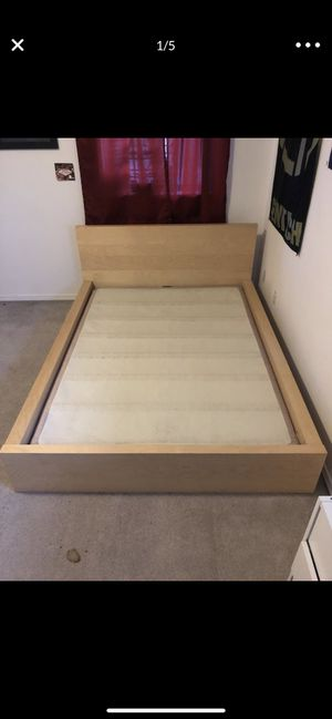Full IKEA Malm bed frame and box spring for Sale in Bonney Lake, WA