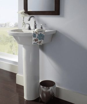 Tropic Petite 21 in. Center Pedestal Sink Basin with 8 in. Faucet Centers in White for Sale in St. Louis, MO
