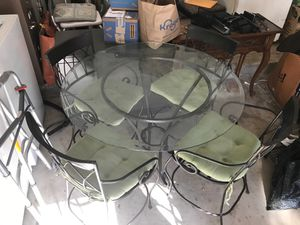 Indoor / Outdoor Glass Table & Iron Base w/ 4 Chairs for Sale in Dallas, TX