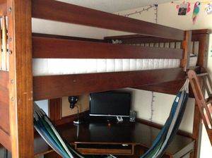 Bayside college loft bed full size , hard wood for Sale in Puyallup, WA