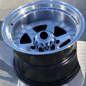 Brand new 15x10 -44 offset off-road truck wheels polished black wheels 6x139 all 4 READ DESCRIPTION! PRICE FIRM! for Sale in El Monte, CA