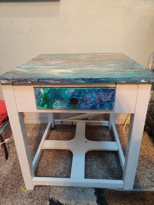 One of a kind painted side table or small children's desk for Sale in Colorado Springs, CO