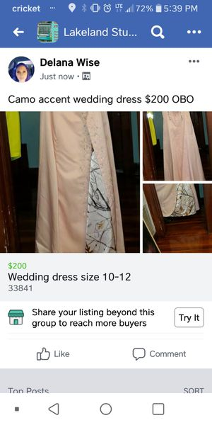 2 separate wedding dresses, 1 light pink with Camo accent, 2nd one white ,both gentle used $150 Each OBO for Sale in Fort Meade, FL