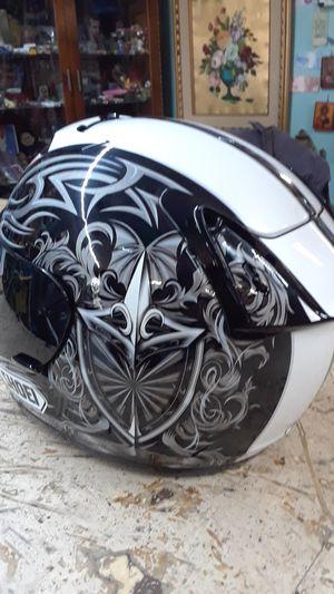 Shoei limited edition helmet motorcycle. When vents aerodynamic professional Rider GSXR Kawasaki Ninja CBR black and white airbrush tribal for Sale in Pompano Beach, FL