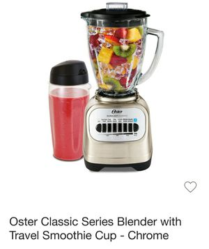 Brand New Oster Classic Series Blender with Travel Smoothie Cup, Chrome for Sale in Santa Ana, CA