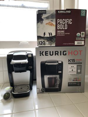 Keurig K15 coffee maker + 120 Organic KCup Pacific Bold for Sale in Beverly Hills, CA