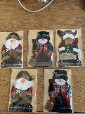 Christmas Handmade Cards x 5 (Santa, Snowmen, Reindeer) w Envelopes in Plastic for Sale in Phoenix, AZ