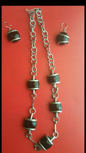 SILVER WRAPPED BLACK ONYX NECKLACE/EARRING for Sale in Lincolnwood, IL