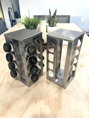 2 spice racks - 12 glass containers storage jars - stainless steel silver grey for Sale in Bellflower, CA