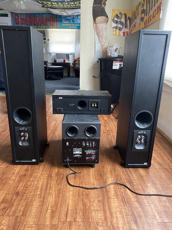 Jamo C605 home theatre speakers, with Polk audio sub woofer