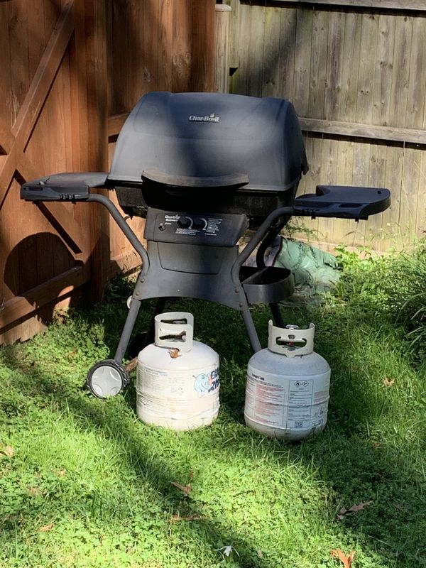 Grill and propane tanks