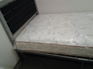 Silver Frame Twin Bed with Black Panel Headboard + Mattress for Sale in Jessup, MD