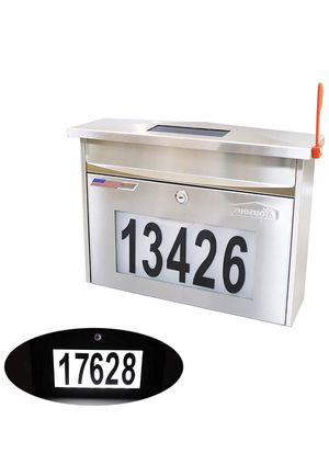 Wall Mount Locking Mailboxg - Solar House Numbers Light Large Capacity Illuminated at Night - Waterproof Stainless Steel for Sale in Chino Hills, CA