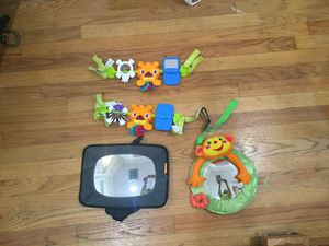 Toys to attach to stroller of carrier and 2 mirrors to see infant while in rear facing car seat. for Sale in Washington, DC