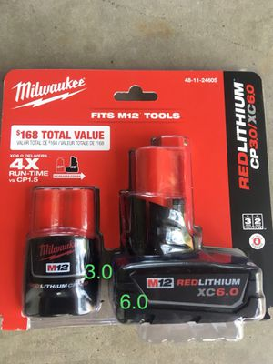 Milwaukee battery 12M (6.0 and 3.0) for Sale in Glendale, AZ