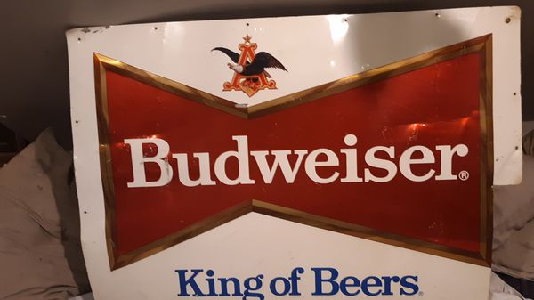 "LARGE VINTAGE BUDWEISER KING OF BEERS BEER 35.5""x 25.5METAL SIGN WALL, DELIVERY TRUC"
