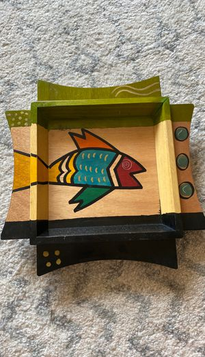 Hand Painted Israeli Wooden Serving Tray: Colorful Fish for Sale in Chevy Chase, MD