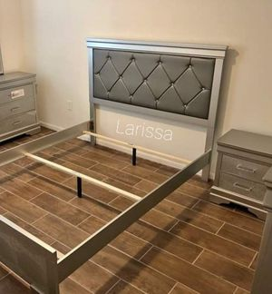 ♡Brand New Gold Panel Bedroom Set》Queen and King Bed Frame, Dresser, Mirror, Night stand included🚚FREE AND SAME-DAY DELIVERY for Sale in Houston, TX