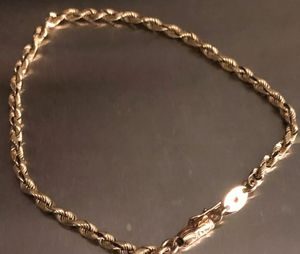 "Beautifull Silk Rope in 14K Solid Yellow Gold 4mm Rope Chain Bracelet w/ Tube Clasp 8"" long weights 8 grams for Sale in Redlands, CA"