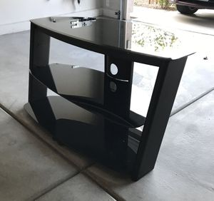 Black Glass Media Center/TV Stand—DELIVERY Extra $20 for Sale in Las Vegas, NV
