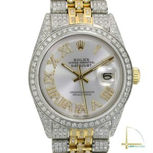 Rolex Mens Datejust 36mm Silver Diamond Roman Fully Loaded Real Diamond Watch for Sale in Los Angeles, CA