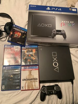 Ps4 slim 1tb limited edition with 5 games and headset for Sale in Boca Raton, FL