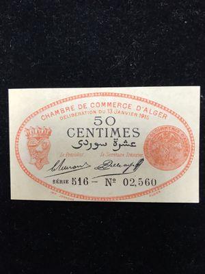 "France/Algeria ""Chambre De Commerce"" 1915 50 Centimes UNC for Sale in Upland, CA"