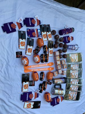 56 piece wholesale lot Clemson Tigers South Carolina swag mugs trucks photo booth koozies balls luggage tags for Sale in Painesville, OH