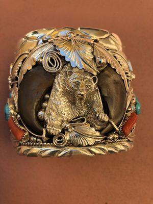 M Thomas Jr Navajo Silver Turquoise Coral Massive Southwest Bear Cuff Bracelet for Sale in Mesa, AZ